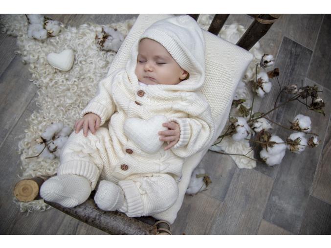 Overal pletený chlapecký s copánkovým vzorem a s kapucí_S61833 (Barva & Vzor MODRÁ, Velikost 9 - 12 MĚSÍCŮ)