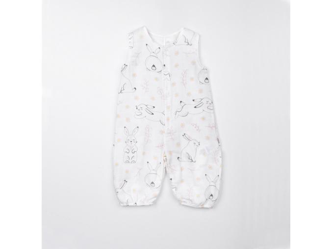 Overal dětský mušelínový bez rukávů - králíčci_S14993