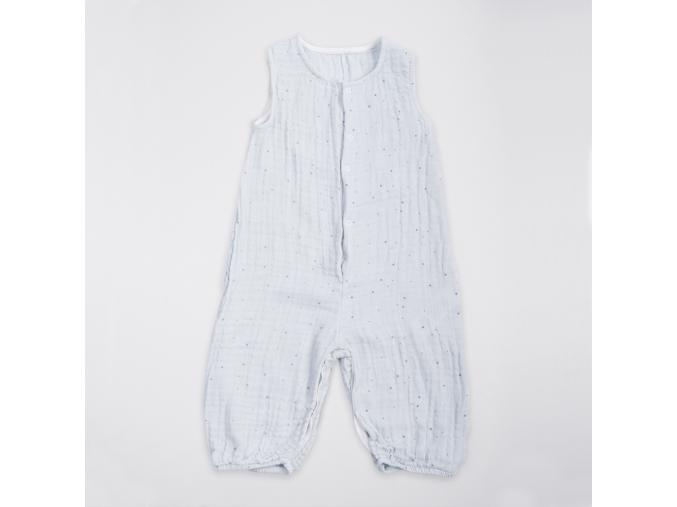 Overal dětský mušelínový bez rukávů - modrý s puntíčky_S15297