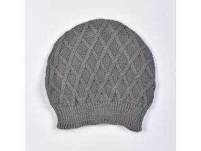 Čepička pletená s plastickým vzorem - káry_S60638 (Barva & Vzor PUDROVÁ, Velikost 6 - 12 MĚSÍCŮ)