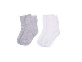 Sada 2 párů ponožek BASIC_S52060 (Barva & Vzor ŠEDÁ / RŮŽOVÁ, Velikost 18 - 24 MĚSÍCŮ)