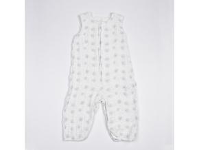 Overal dětský mušelínový bez rukávů - šedé flíčky_S15143