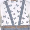 Overal dívčí - triko s dlouhým rukávem s motýlky a laclové džíny 3D_S31683 (Velikost 1 - 3 MĚSÍCE)