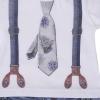 Overal krátký chlapecký s kšandami a kravatou 3D_S45208 (Velikost 12 - 18 MĚSÍCŮ)