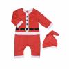 Souprava 2dílná  - červený vánoční overal a čepička _S70095 (Velikost 12 - 18 MĚSÍCŮ)