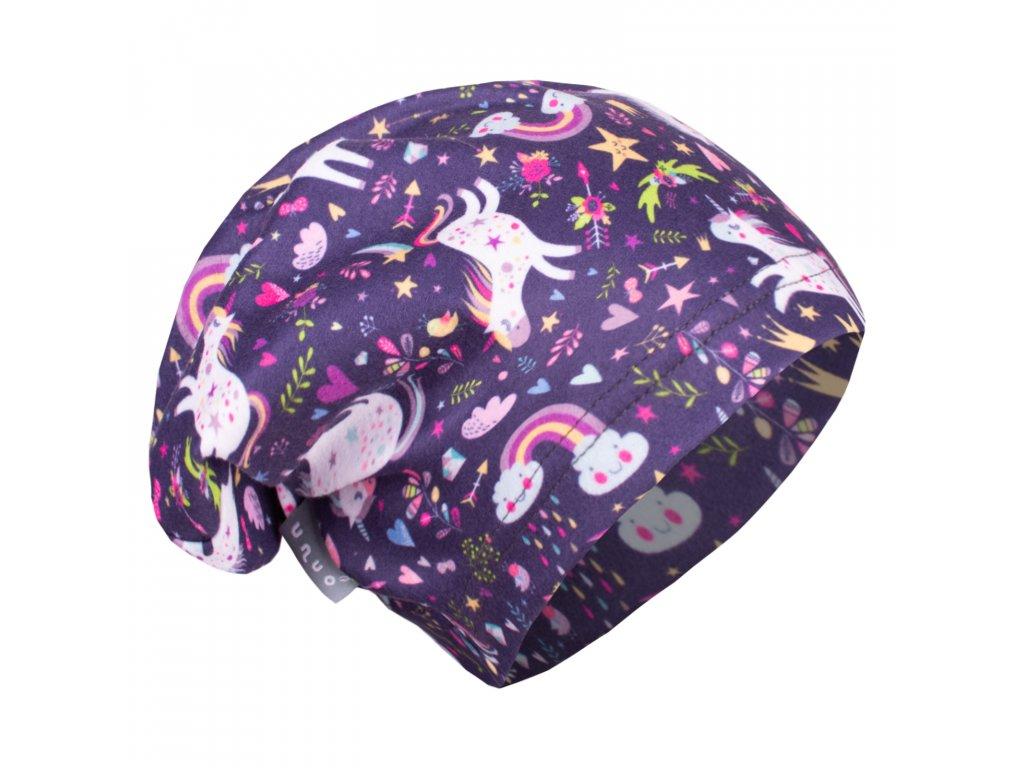 UNUO fleecová čepice Jednorožci