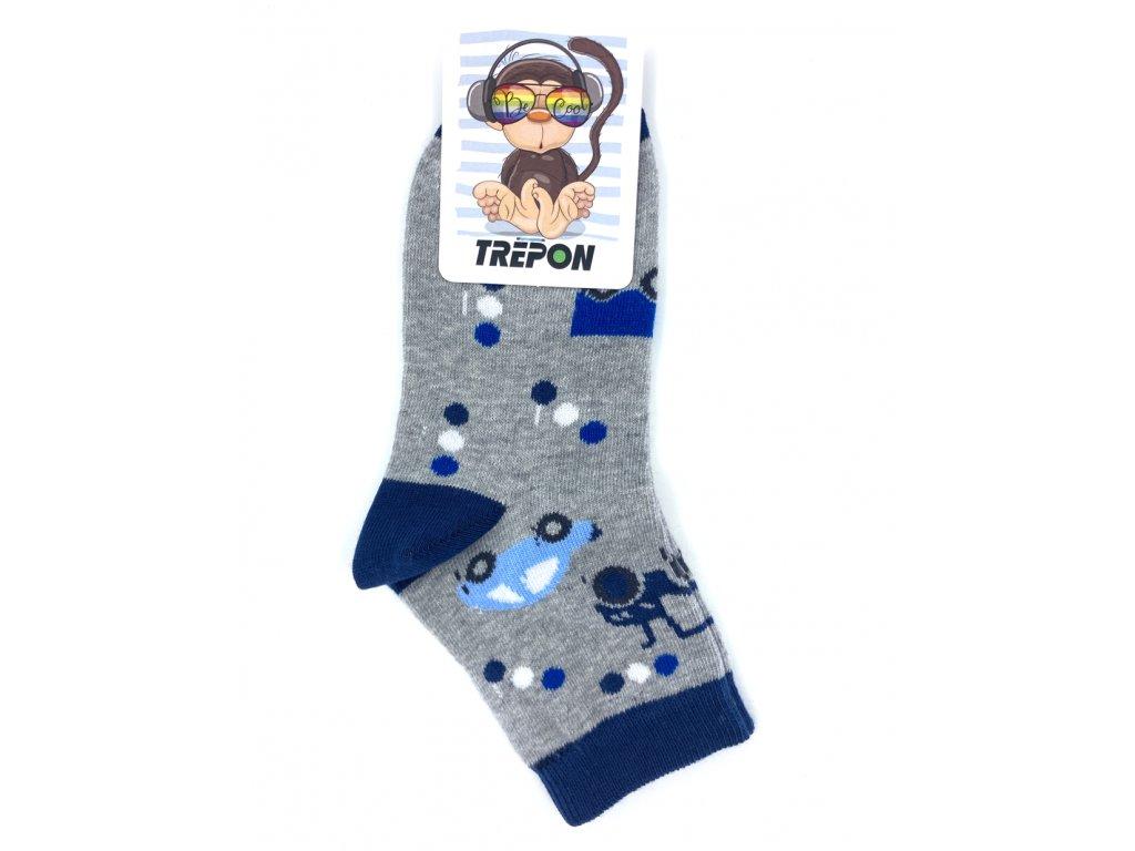 Bavlněné ponožky Trepon TOBIK šedý melír