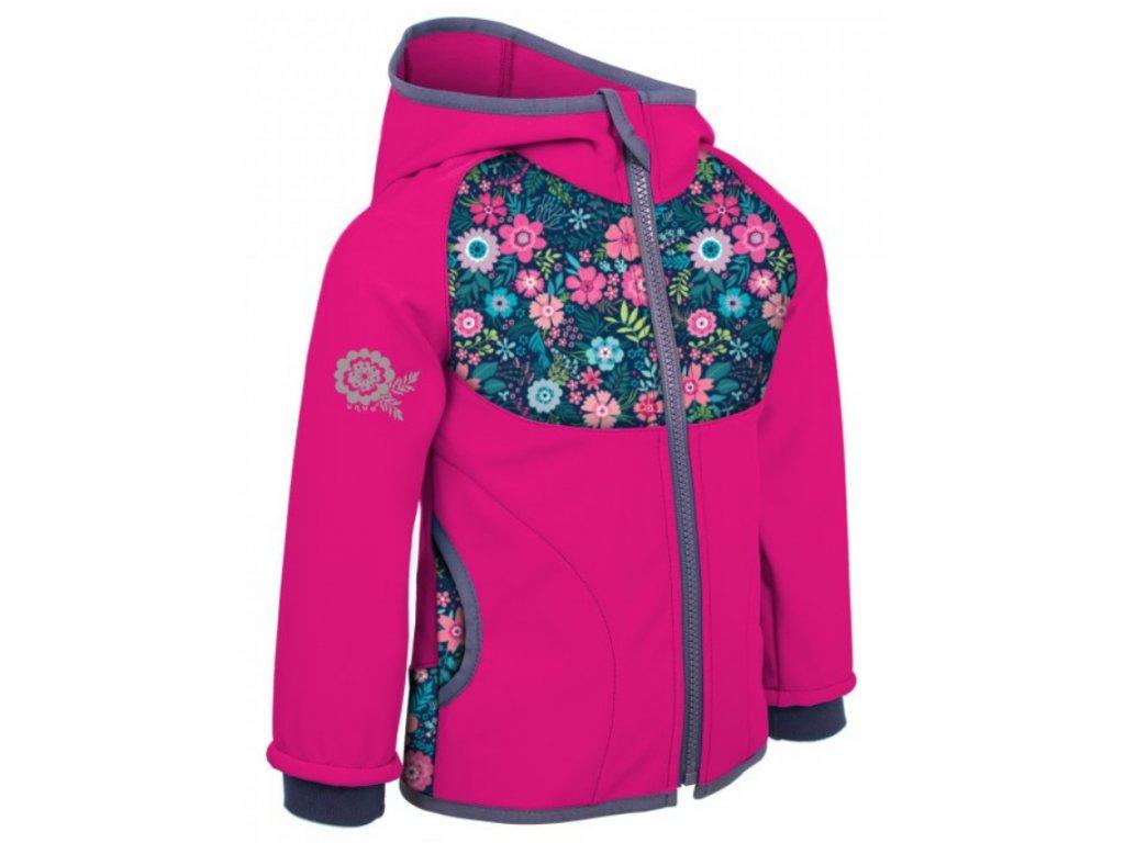 UNUO Softshellová bunda Květinky
