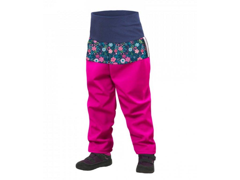 UNUO Batolecí softshellové kalhoty s fleecem, Fuchsiová, Květinky