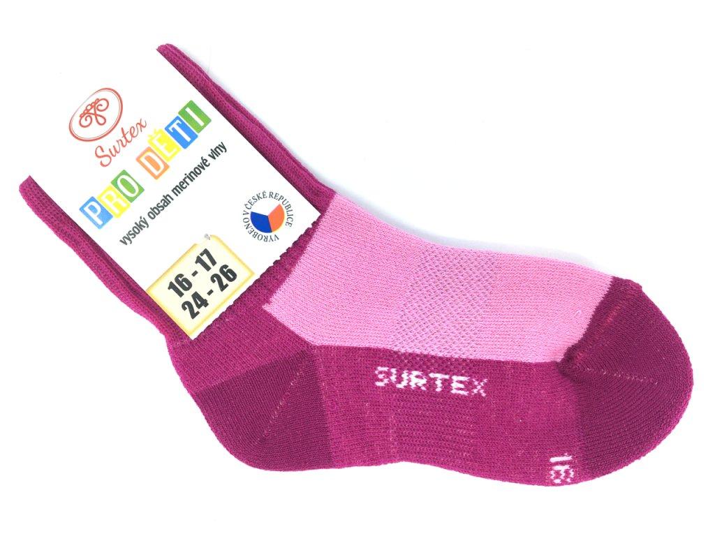 Ponožky Surtex zima Merino růžové