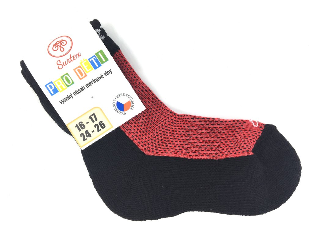 Ponožky Surtex podzim Merino červene