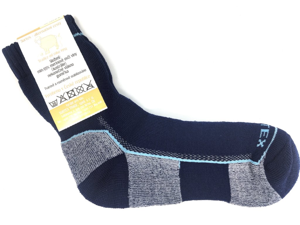 Merino ponožky Surtex ZIMA Tmavě modré se šedou