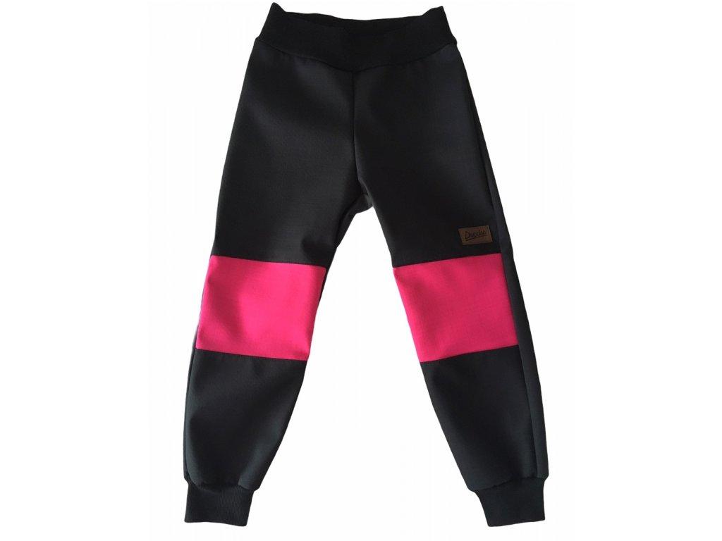Drexiss Softshellové kalhoty jaro/podzim BLACK-FUCHSIA