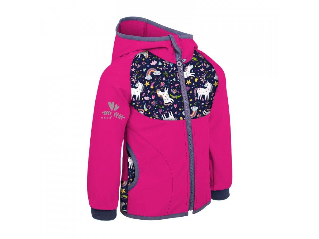 UNUO Dětská softshellová bunda bez zateplení, Fuchsiová, Jednorožci