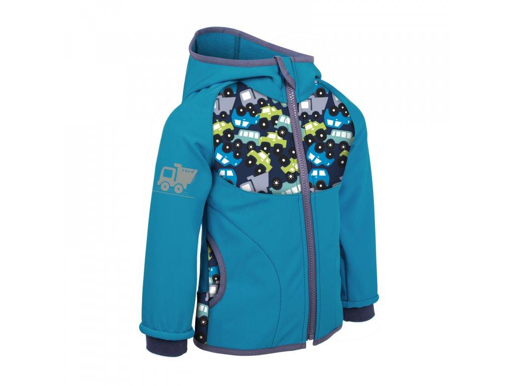 UNUO Dětská softshellová bunda bez zateplení, Modrozelená Aqua, Autíčka