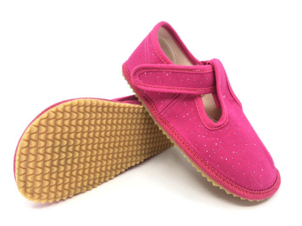 Beda barefoot papuče růžová třpytka (BF 060010W)
