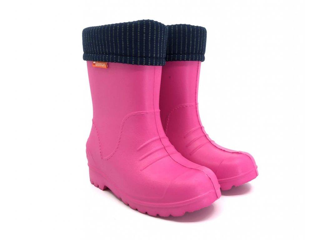 dětské gumáky demar dino růžové