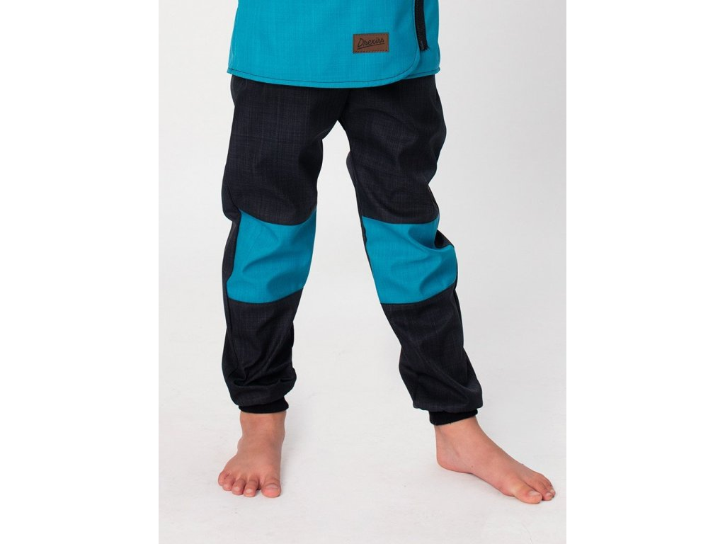dětské softshell kalhoty drexiss black petrol
