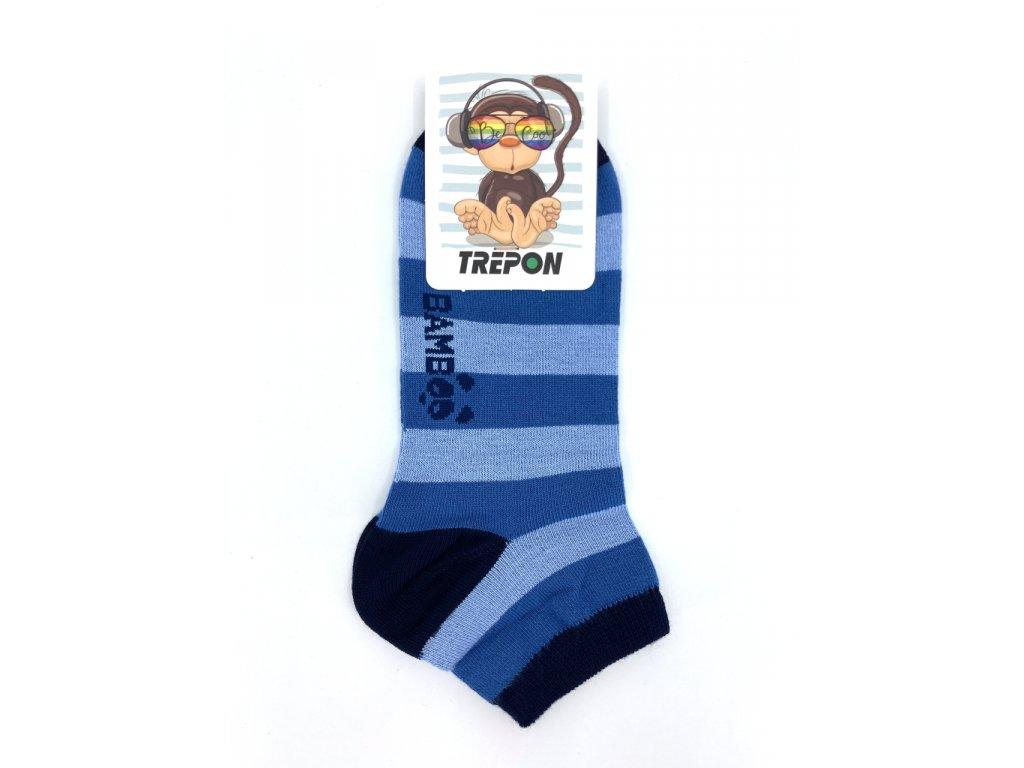 Nízké bambusové ponožky Trepon Kubík modrá