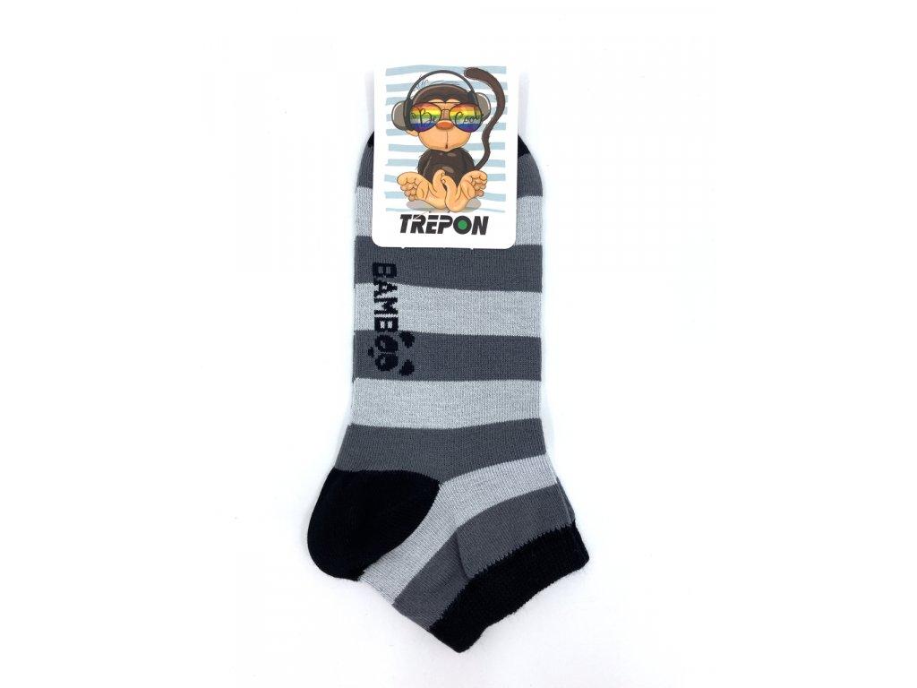 Nízké bambusové ponožky Trepon Kubík šedá