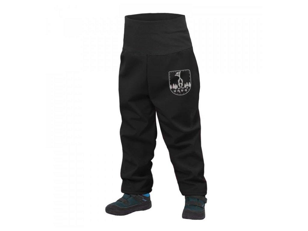 softshellové kalhoty unuo černé batolecí s fleecem