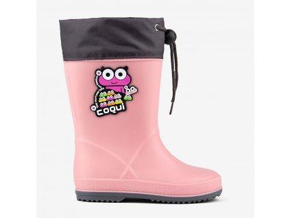 holínky coqui rainy collar pink grey