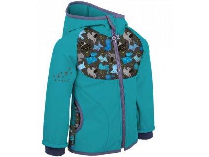 UNUO Dětská softshellová bunda s fleecem, Sv.Smaragdová, Pejsci
