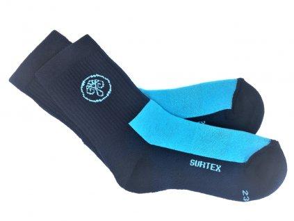 80% Merino ponožky volný lem tyrkys