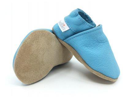 Kožené barefoot capáčky BaBice Baby blue BA 121