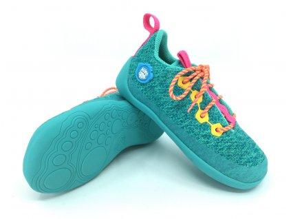 Barefoot tenisky Affenzahn Lowcut Knit Owl Lace tyrkysové