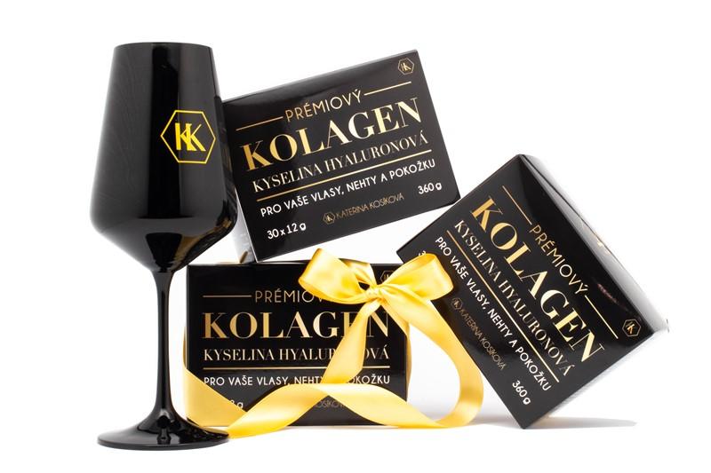 Set 3 balení KK kolagenu se sklenicí