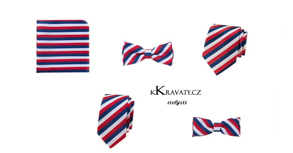Trikolóra - kapesníček do saka, kravata, motýlek