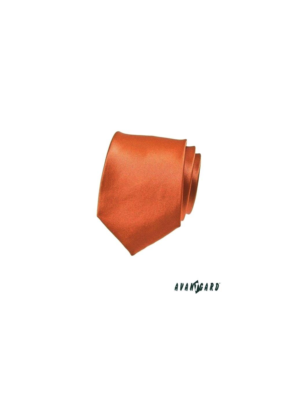 Cihlově oranžová lesklá kravata