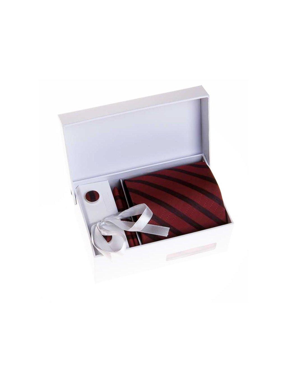 Vínová kravata s černými pruhy v dárkové sadě