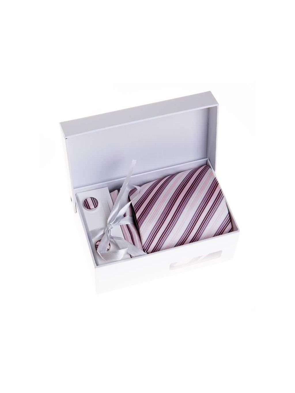 Růžová pánská kravata s proužky - Dárková sada