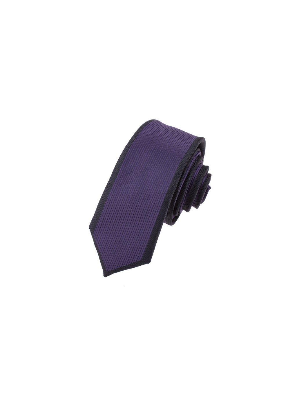 Fialová SLIM kravata s černým orámováním