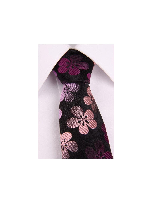 Černá hedvábná slim kravata s květinovým vzorem