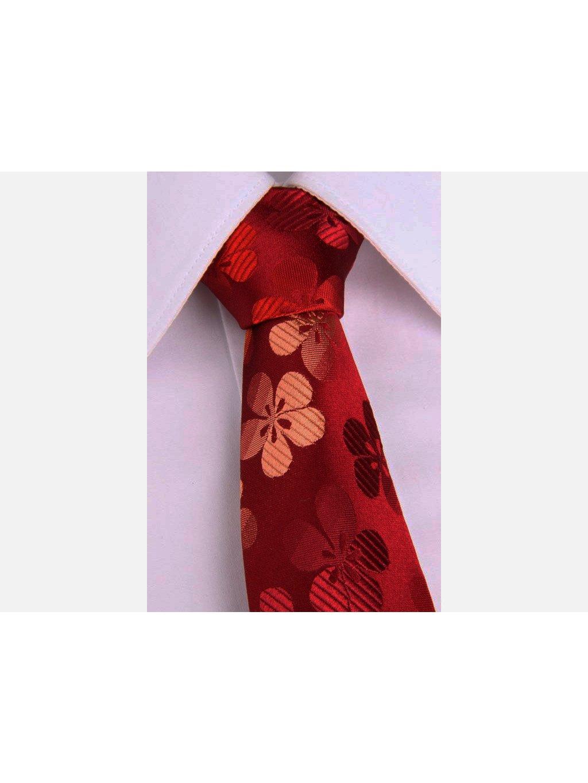 1912 cervena hedvabna slim kravata s kvetinovym motivem