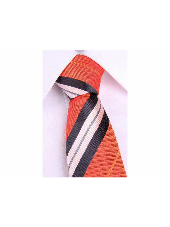 1918 oranzova hedvabna slim kravata s barevnymi pruhy