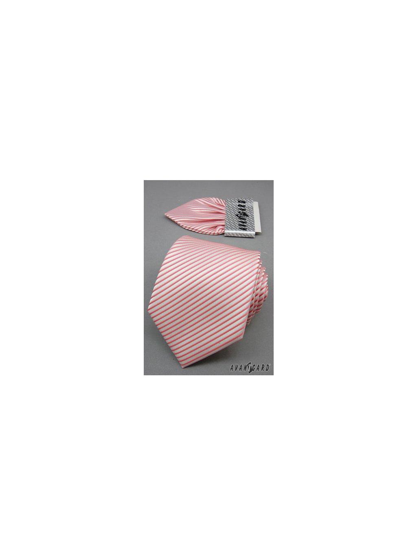 Bílá svatební kravata s růžovými pruhy + kapesníček