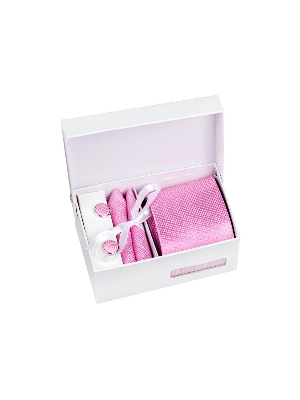 Světle růžová pánská kravata s kostičkovaným vzorem - Dárková sada