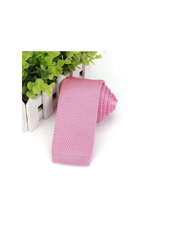2191 ruzova pletena kravata