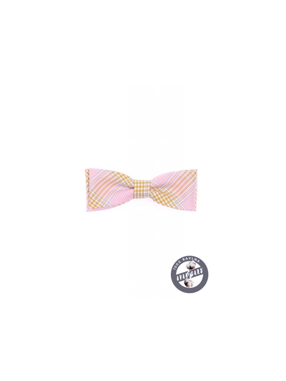 Růžový motýlek s jemným kárem + kapesníček