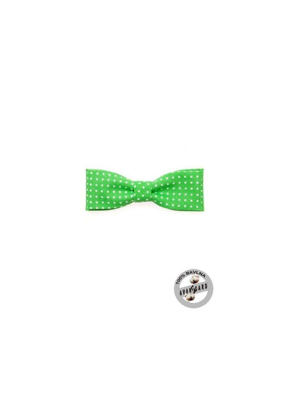 Zelený motýlek s bílými puntíky