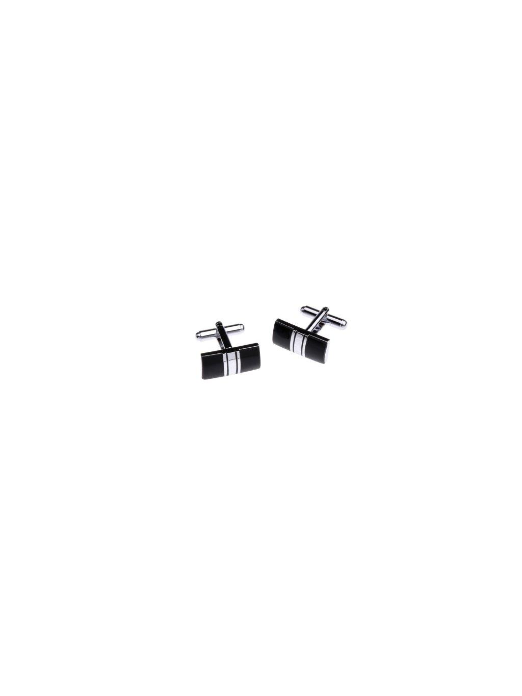 Černé manžetové knoflíčky se stříbrnými středovými pruhy