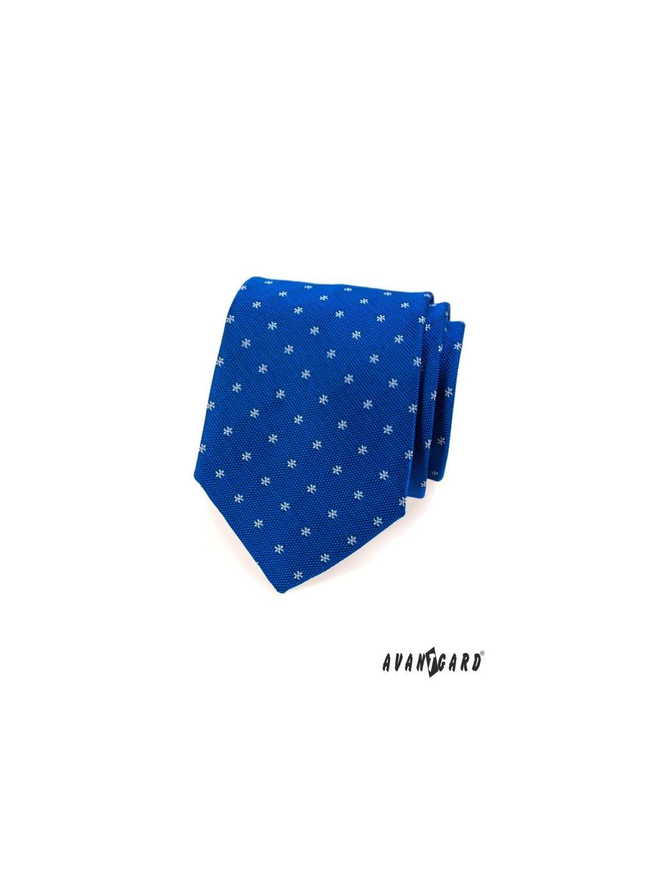 Modrá kravata s drobnými kvítky