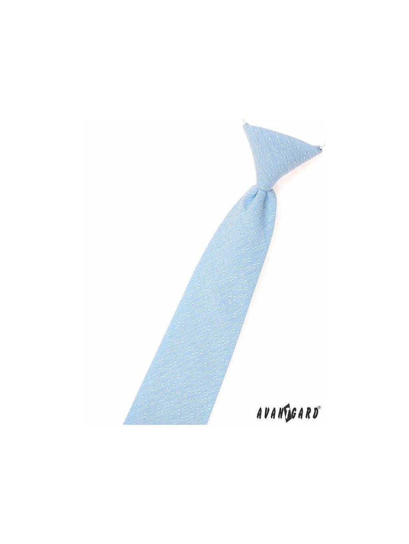 Velmi světle modrá dětská kravata s hranatým vzorem