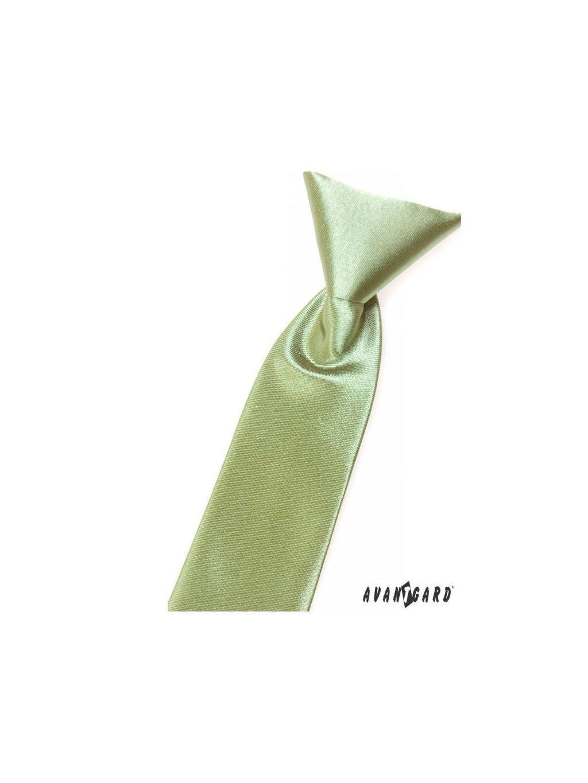 Zelená lesklá dětská kravata na gumičku