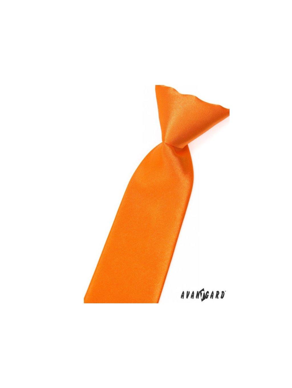 Oranžová lesklá dětská kravata