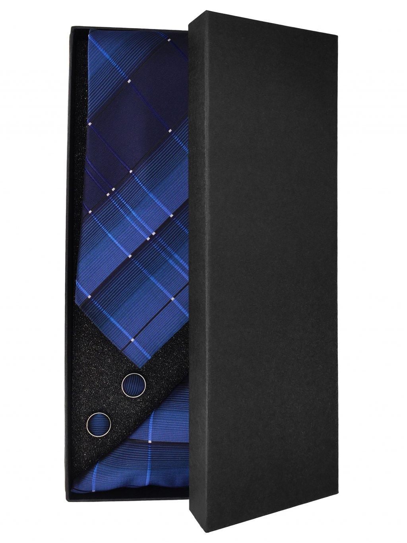 Modrá károvaná pánská kravata - Dárková sada